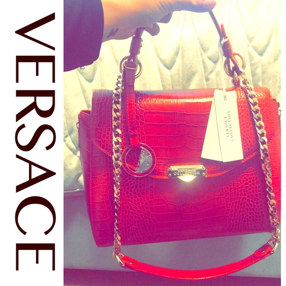 8a7c4a22a75 Versace Bags   Red Croc Embossed Leather Satchel   Poshmark